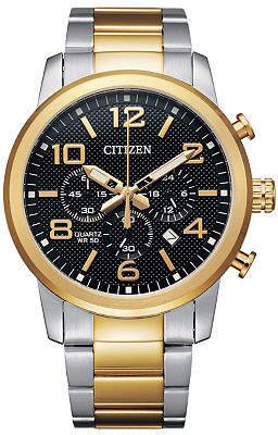 Citizen Quartz Mens Chronograph Two Tone Stainless Steel Bracelet Watch-An8054-50e Family