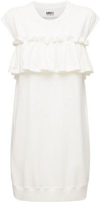MM6 MAISON MARGIELA Ruffled Cotton Blend Jersey Mini Dress