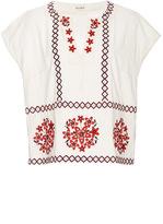 Suno Cotton Floral Appliqué Short Sleeved Top