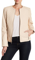 Cole Haan Quilted Front Zip Lambskin Leather Jacket