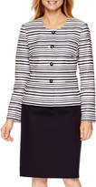 Isabella Collection Long-Sleeve Striped Jacket and Skirt Suit Set