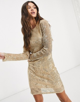 NA-KD long sleeve bodycon sequin mini dress in gold