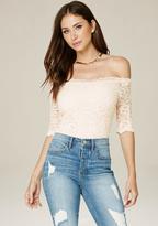 Bebe Lace Off Shoulder Bodysuit