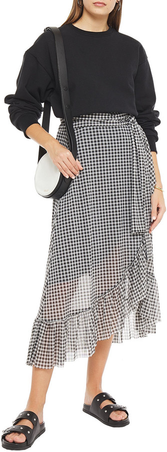 Thumbnail for your product : Ganni Ruffle-trimmed Gingham Stretch-mesh Midi Wrap Skirt