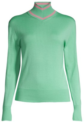 Maggie Marilyn Make A Difference Striped-Trim Turtleneck