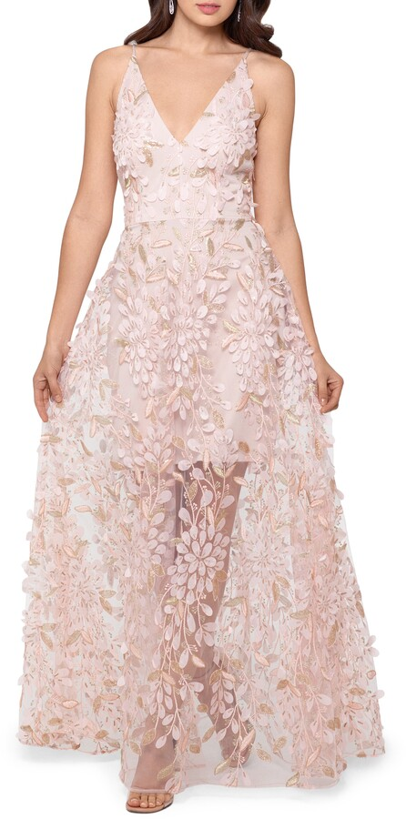 Xscape Evenings 3D Floral V-Neck Gown