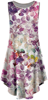 Lily Women's Casual Dresses PRP - Purple & White Leaf Curved-Hem Sleeveless Dress - Women & Plus
