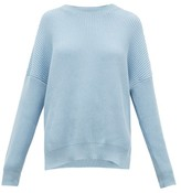 Loewe Dropped-shoulder Ribbed Cotton Sweater - Womens - Light Blue