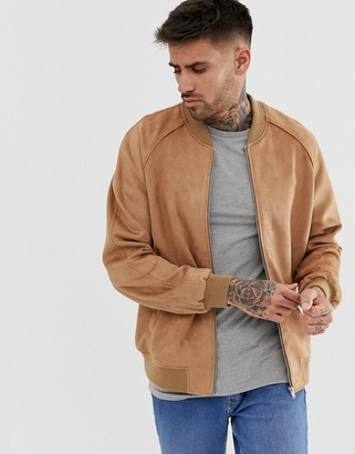 ASOS DESIGN faux suede bomber jacket in tan