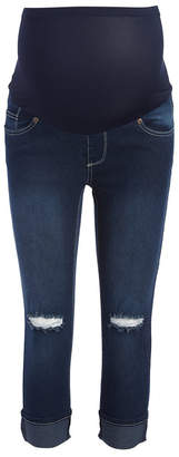 Times 2 Women's Capris DARK - Dark Distressed Denim Roll-Cuff Over-Belly Capri Jeans - Plus Too