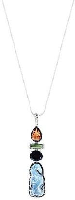 Sharon Khazzam Lavale Platinum & Mixed-Stone Aqua Pendant Necklace