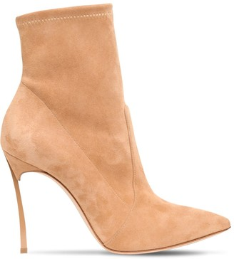Casadei 100mm Blade Stretch Suede Ankle Boots