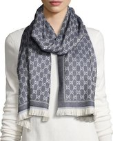 Gucci Reversible Wool Stencil Scarf, Sand/Blue