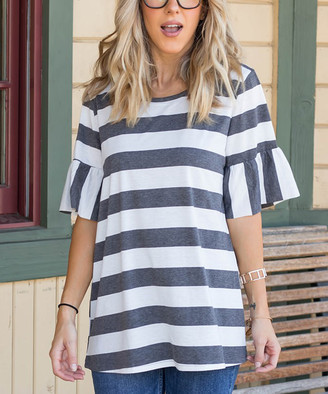 Tickled Teal Women's Tee Shirts Charcoal/white - Charcoal & White Stripe Ruffle-Sleeve Tee - Women