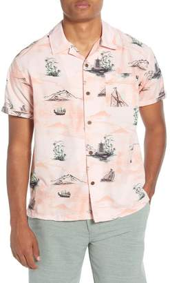 Hurley Print Short Sleeve Button-Up Camp Shirt