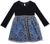 Rare Editions Velvet & Glitter Dress, Baby Girls