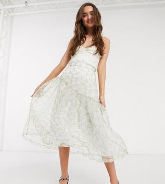 ASOS DESIGN Petite organza midi overlay skirt in floral print