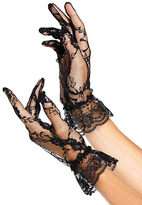 Leg Avenue Black Lace Wrist-Length Ruffle Gloves