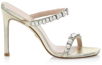 Stuart Weitzman Aleena Embellished Metallic Leather Mules