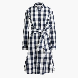 J.Crew Tie-waist poplin shirtdress in gingham