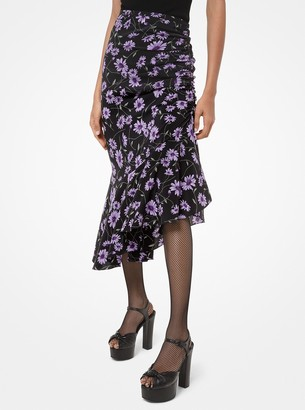 Michael Kors Collection Daisy-Print Silk Crepe De Chine Asymmetric Skirt
