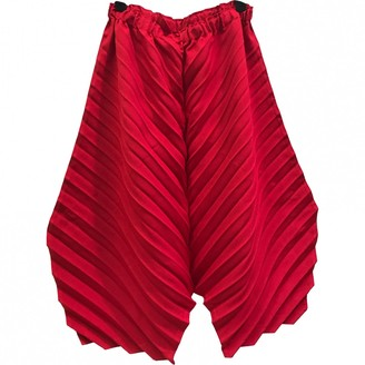 Issey Miyake Red Polyester Trousers