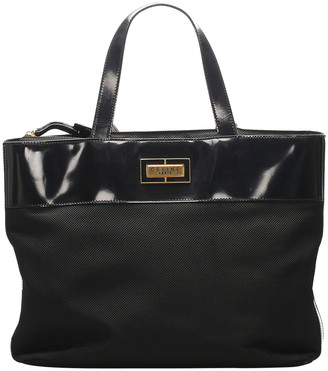 Celine Black Leather-trimmed Fabric Tote Bag