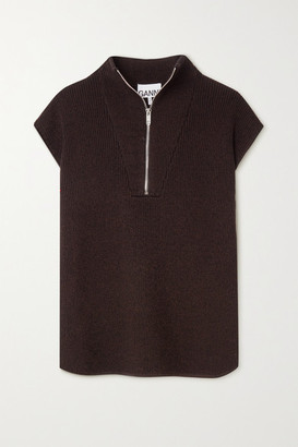 Ganni Ribbed-knit Vest - Brown