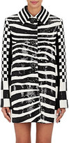 Marc Jacobs Women's Checked & Zebra-Print Wool Coat-BLACK