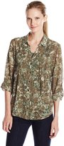 Erika Women's Gertie Ocean Animal Print Pintuck 3/4 Slv 2fer Top