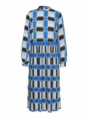 Selected Whistle Ls Check Midi Dress - 36