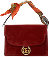Gucci Red Suede Medium GG Ring Scarf Shoulder Bag