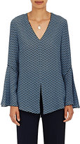 Derek Lam Women's Abstract-Print Silk V-Neck Blouse-BLUE