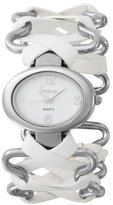 Freelook Women's HA8117-9 Oval Case stainless steel Bracelet with White Leather Watch