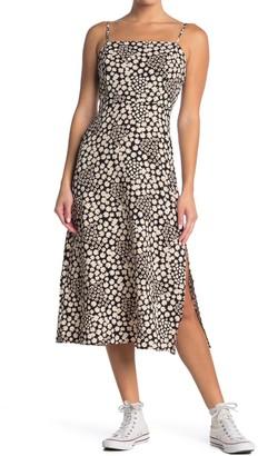 Lush Printed Square Neck Midi Dress