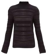 Chloé High-neck Striped-knit Sweater - Womens - Navy