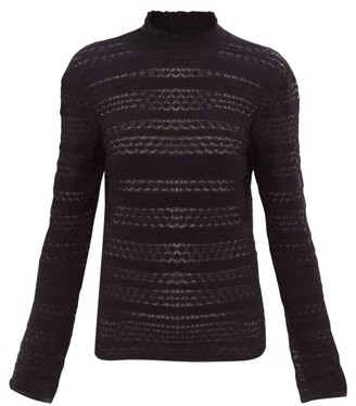 Chloé High-neck Striped-knit Sweater - Womens - Navy