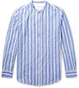 Officine Generale Gaspard Striped Grandad-collar Cotton-voile Shirt - Blue