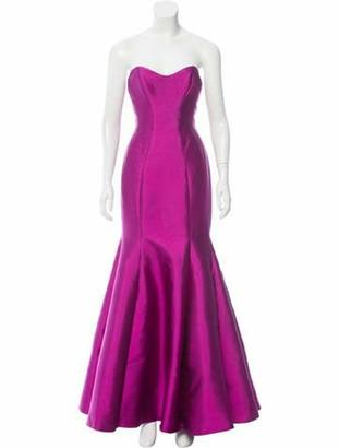 Lela Rose Wool & Silk-Blend Gown Purple