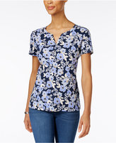 Karen Scott Petite Floral-Print Henley T-Shirt, Only at Macy's
