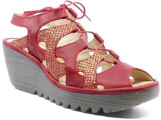 Fly London Women's Sandals 024 - Red Metallic-Accent Wedge Yexa Leather Slingback - Women
