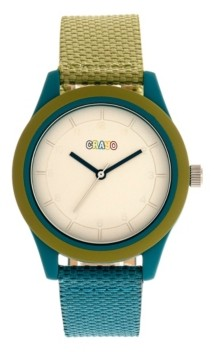 Crayo Unisex Pleasant Olive, Teal Leatherette Strap Watch 39mm