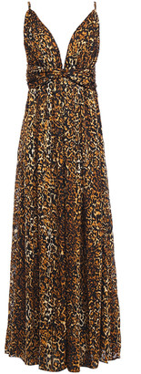Ronny Kobo Twist-front Leopard-print Devore-velvet Maxi Dress