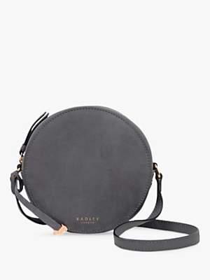 Radley Fulham Palace Leather Small Zip Around Cross Body Bag, Grey