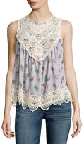Self Esteem Lace Yoke Print Tank