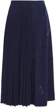 Markus Lupfer Gemma Pleated Embellished Crepe Midi Skirt