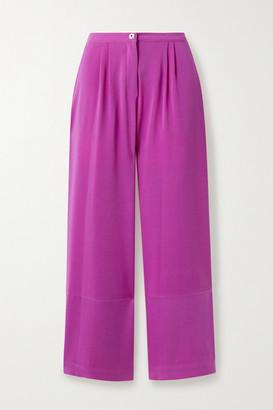 Fleur Du Mal Crepe Wide-leg Pants - Magenta