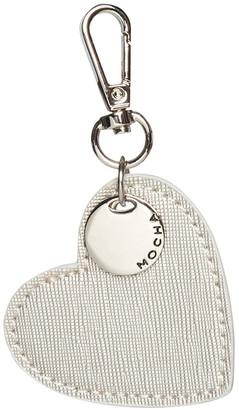Mocha Initial Heart Saffiano Keyring - Silver