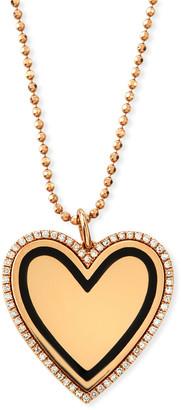 Ef Collection 14k Gold & Black Enamel Heart Pendant Necklace w/ Diamonds