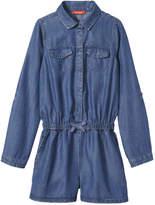 Joe Fresh Kid Girls' Denim Romper, Medium Wash (Size S)